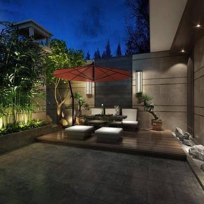 庭院, 单人沙发, 园林, 绿植, 现代