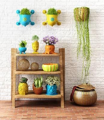 田园地中海盆栽, 盆栽架子, 墙面盆栽, 篮子, 置物架