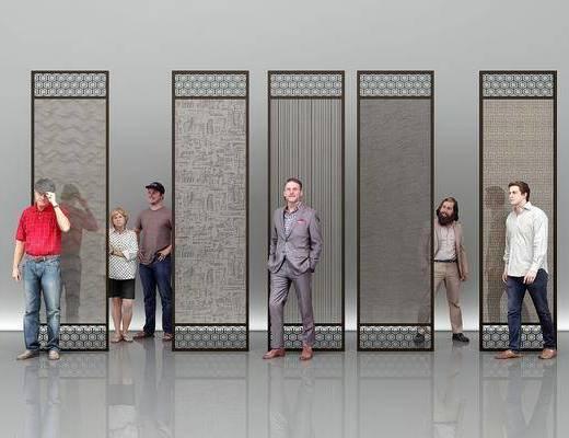 夹丝玻璃, 隔断, 人物组合, 男人, 现代