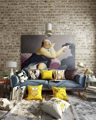 北欧, 沙发, 多人沙发, 边几, 台灯, 挂画, 抱枕, 吊灯