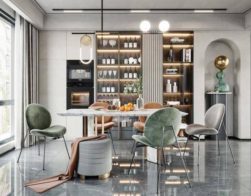 现代, 轻奢, 餐厅, 家装