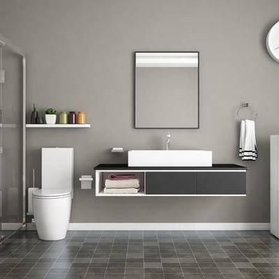 现代浴室, 现代, 卫生间, 马桶, 淋浴间, 时钟, 镜子