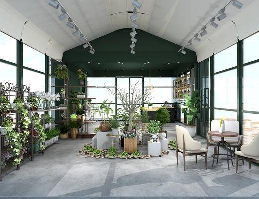 咖啡厅, 花店, 植物, 桌椅组合, 射灯
