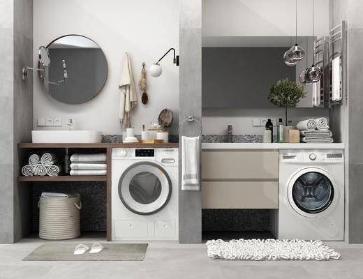 洗手台组合, 卫浴, 洗衣机, 装饰镜, 吊灯, 装饰品, 陈设品, 壁灯, 现代