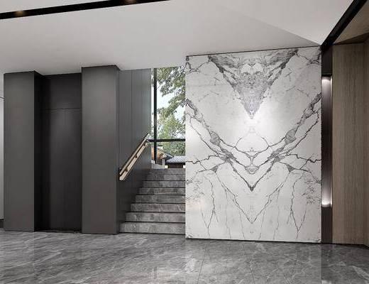 电梯厅, 楼梯, 现代