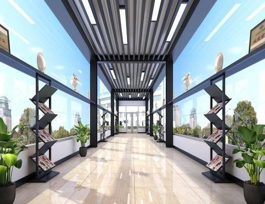 车间走廊, 盆栽绿植, 装饰品, 陈设品, 工业风