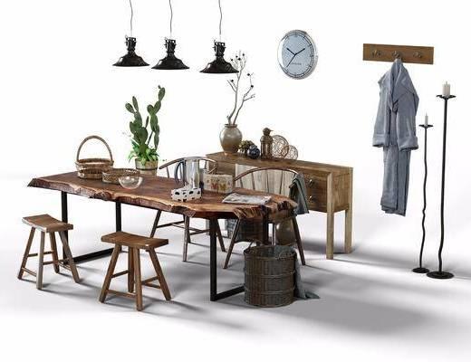 桌椅組合, 餐桌, 餐椅, 單人椅, 吊燈, 凳子, 衣架, 服飾, 邊柜, 擺件, 盆栽, 綠植植物, 裝飾品, 陳設品, 現代