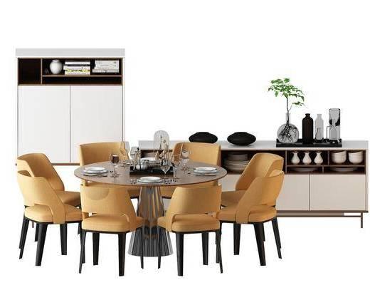 餐桌, 餐椅, 单人椅, 边柜, 装饰柜, 休闲椅, 装饰品, 陈设品, 摆件, 北欧