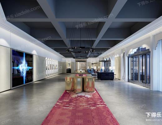 会客厅, 会客区, 洽谈区, 现代客厅, 走廊, 过道