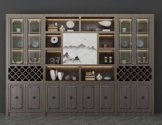 酒柜, 酒瓶, 风景画, 装饰品, 陈设品, 新中式
