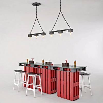 现代吧台, 吧台, 吧椅, 吊打, 工业风