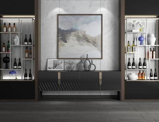 电视柜, 玄关柜, 装饰架, 酒瓶, 摆件, 装饰品, 陈设品, 装饰画, 挂画, 现代简约