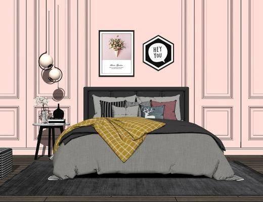 双人床, 装饰画, 吊灯, 边几, 摆件