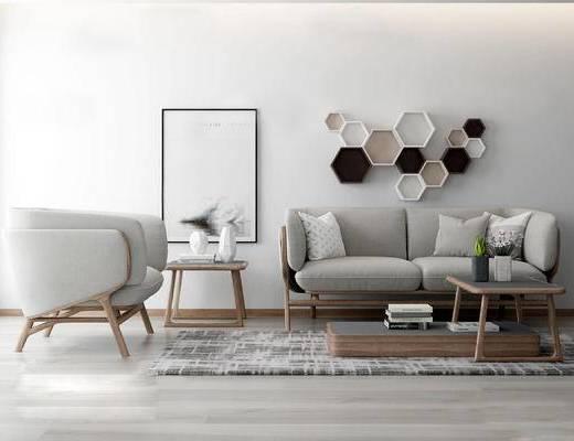 北欧沙发茶几组合, 装饰画, 墙面装饰置物架, 圆几, 灰色沙发组合, 北欧