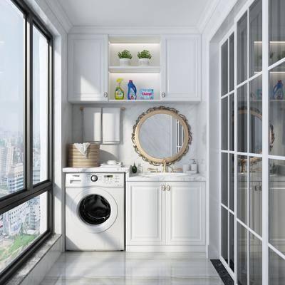 阳台, 简欧阳台, 洗衣机, 柜架组合