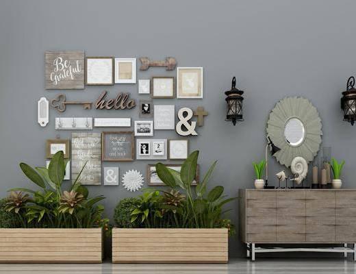 植物绿植, 边柜, 盆栽盆景, 花草, 装饰画, 组合画, 挂饰挂件, 墙饰, 玄关柜, 现代