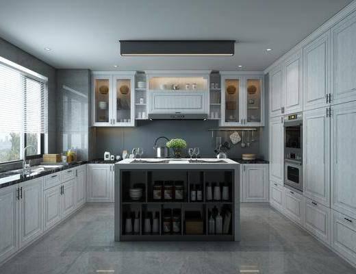 厨房, 橱柜, 厨具, 餐具, 洗手台, 摆件, 装饰品, 陈设品, 现代