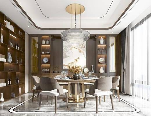 餐桌椅, 吊燈, 餐具, 掛畫, 餐柜, 書柜