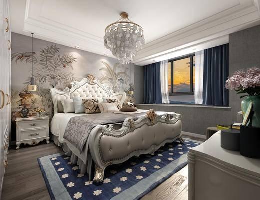 双人床, 床具组合, 床头柜, 吊灯, 背景墙, 电视柜, 窗帘