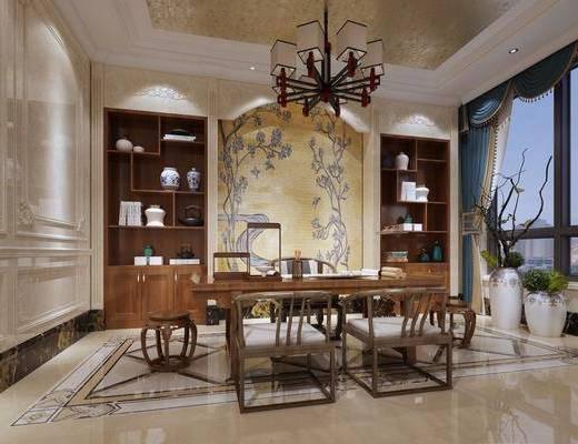 书房, 书桌, 单人椅, 凳子, 装饰柜, 摆件, 盆栽, 装饰品, 陈设品, 中式