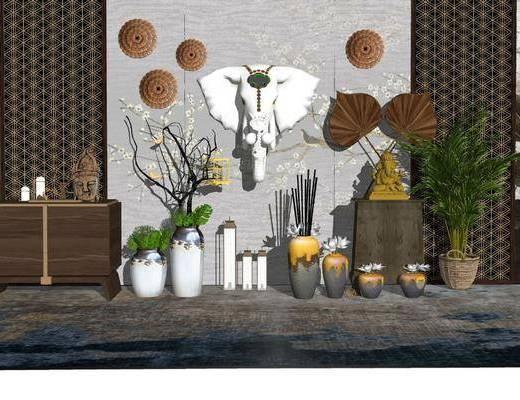 摆件组合, 装饰品, 边柜, 墙饰