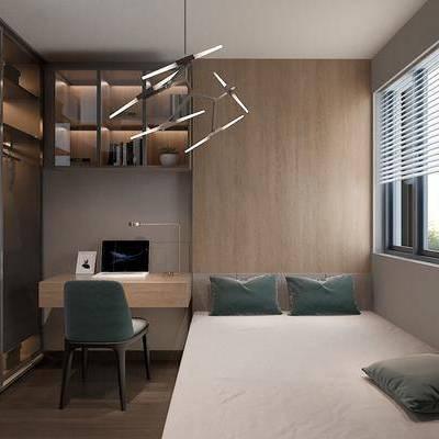 卧室, 榻榻米, 玻璃衣柜, 书柜, 衣柜, 吊灯, 现代