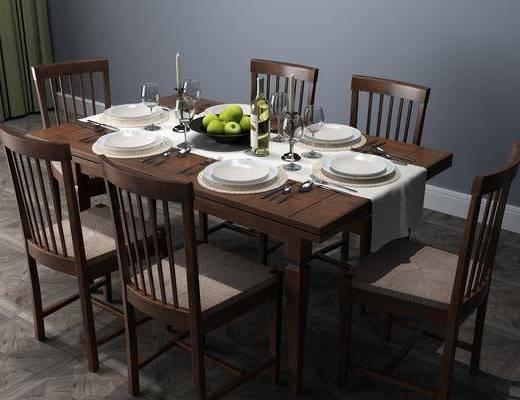 桌椅组合, 餐具组合, 现代