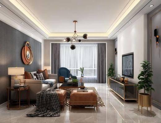 现代客厅, 客厅, 沙发组合, 餐厅, 餐桌椅