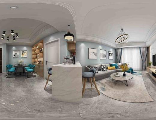 北欧简约客餐厅全景, 客餐厅, 吧台椅组合, 沙发组合, 茶几, 餐桌椅, 吊灯