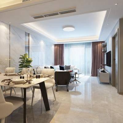 现代客厅, 现代餐厅, 客餐厅, 沙发组合, 餐桌椅, 桌椅组合