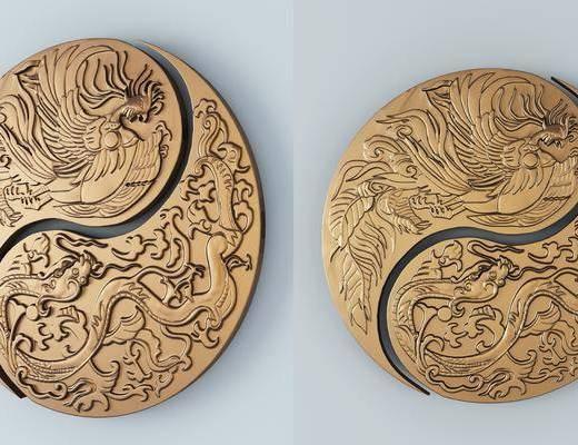 龙凤浮雕, 雕花, 太极龙凤, 墙饰, 中式