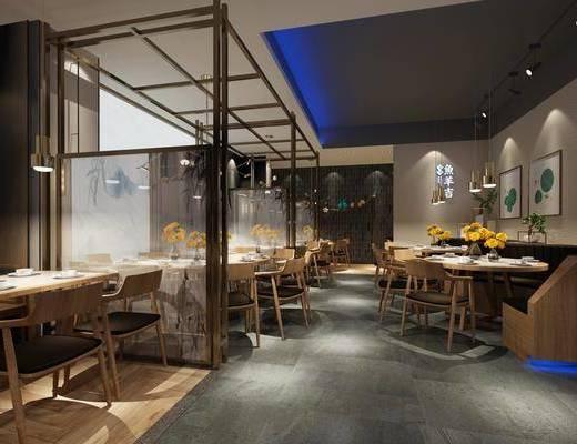 餐厅, 餐桌, 餐椅, 单人椅, 凳子, 吊灯, 装饰画, 挂画, 装饰品, 陈设品, 摆件, 墙饰, 现代