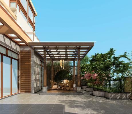 庭院, 绿植, 树木, 餐桌, 单人椅, 吊灯, 外立面, 中式
