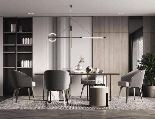 餐厅, 餐桌, 吊灯, 橱柜组合