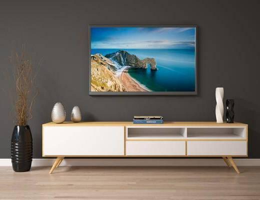 电视柜, 现代电视柜, 摆件组合, 现代