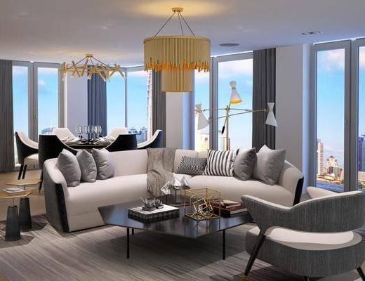 客厅, 多人沙发, 圆弧沙发, 茶几, 单人沙发, 吊灯, 餐桌, 单人椅, 餐椅, 餐具, 边几, 落地灯, 现代