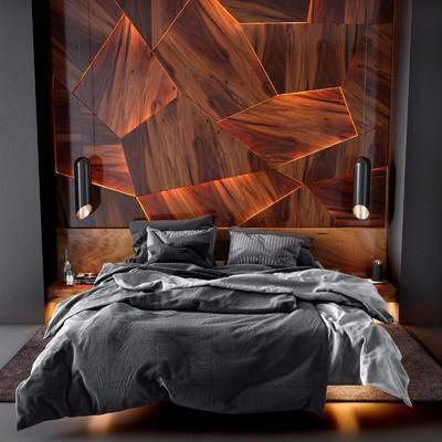 双人床, 床具组合, 现代双人床