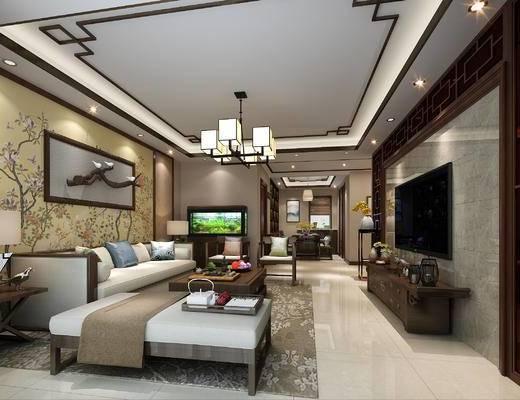 中式客厅, 中式餐厅, 客餐厅, 客厅, 中式沙发, 沙发组合, 中式, 沙发, 电视柜, 吊灯