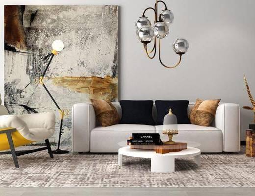 北欧沙发组合, 双人沙发, 茶几, 单椅, 吊灯, 摆件, 北欧