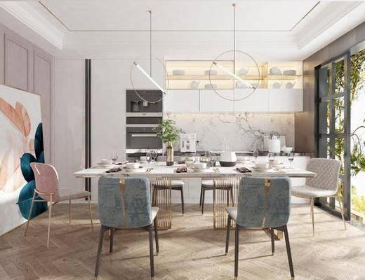 現代餐廳, 北歐餐廳, 輕奢餐廳, 餐廳, 餐桌椅, 桌椅組合