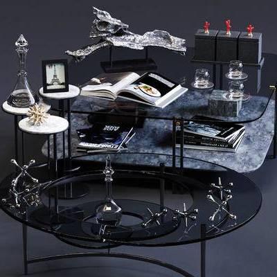 圆几, 方几, 茶几, 边几, 书籍, 摆件, 装饰品, 现代, 玻璃茶几