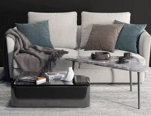 沙发组合, 双人沙发, 茶几, 布艺沙发, 现代