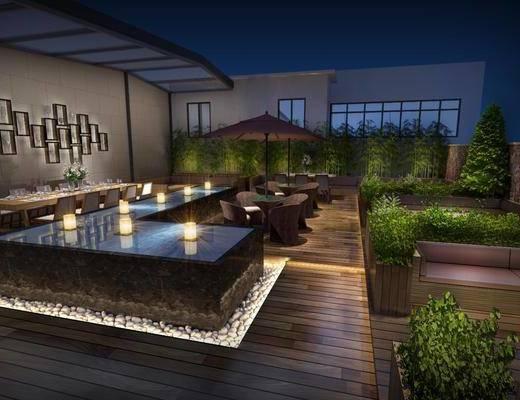 现代, 阳台, 露台, 花园, 餐桌椅