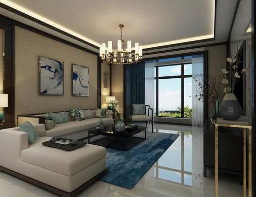 新中式客厅厨房, 新中式沙发组合, 茶几, 新中式吊灯, 装饰画, 花瓶