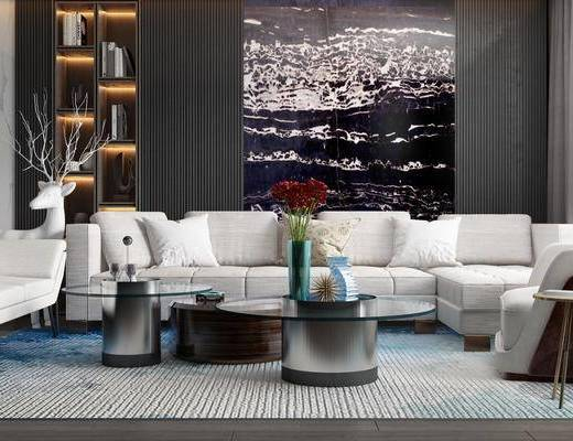 沙发组合, 茶几组合, 背景墙, 装饰柜