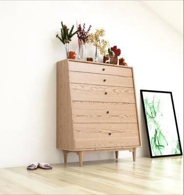 边柜, 北欧边柜, 摆件, 装饰品, 花瓶, 挂画, 装饰画, 北欧