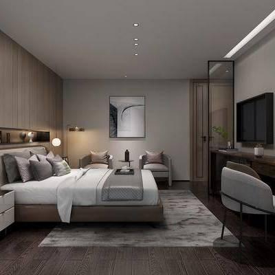 新中式卧室, 卧室, 床, 床头柜, 椅子, 电视柜, 装饰画