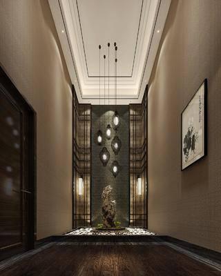新中式会所, 走廊, 景观, 过道