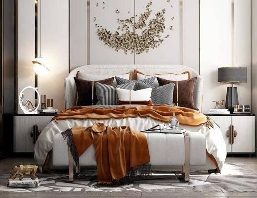 墙饰, 衣柜, 摆件, 抱枕, 台灯, 床头柜, 地毯