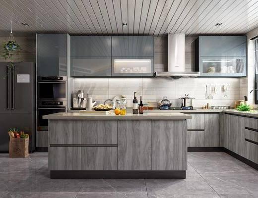餐厅, 厨房, 橱柜, 厨具, 冰箱, 洗手台, 摆件, 装饰品, 陈设品, 水果, 蔬菜, 现代